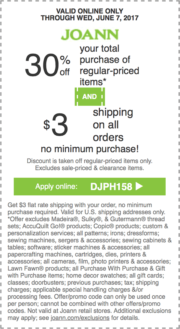 30% off your total regular-priced purchase + $3 Shipping on all ...