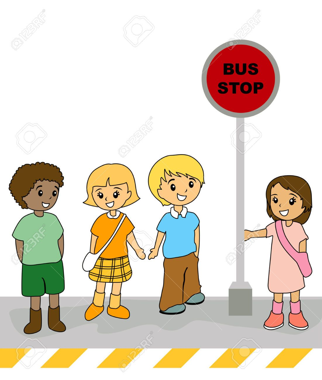 illustration of kids at the bus stop royalty free cliparts rh pinterest co uk london bus stop clipart bus stop clipart black and white
