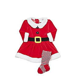 7d031a0229d5e F F Mrs Claus Dress with Tights 18-24 mths Red
