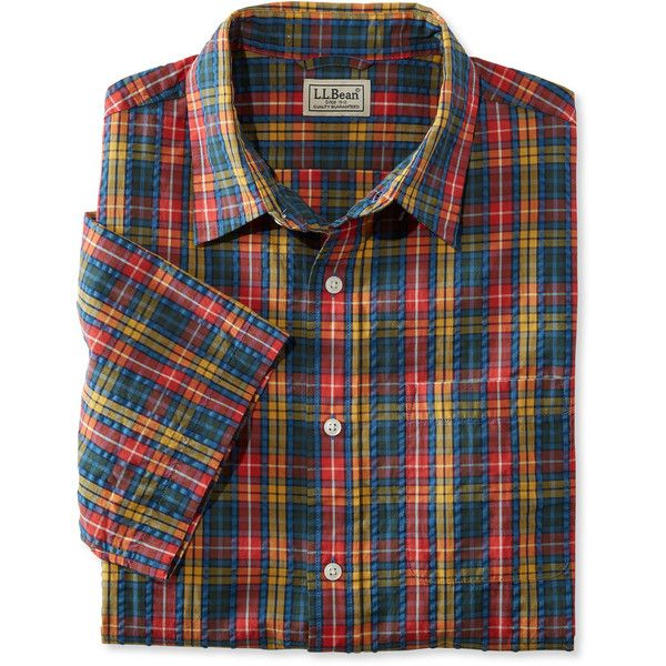 L l bean tartan seersucker shirt short sleeve slightly for Mens short sleeve seersucker shirts