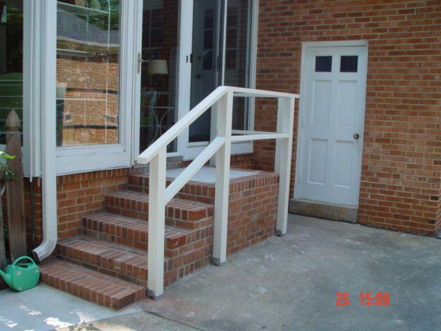 Rothrock Project Brick Porch And Steps Brick Porch Railings | Wood Railing On Concrete Porch | Surface Mount | Wood Decorative | Vinyl | Front Entry Stair | Bluestone Patio
