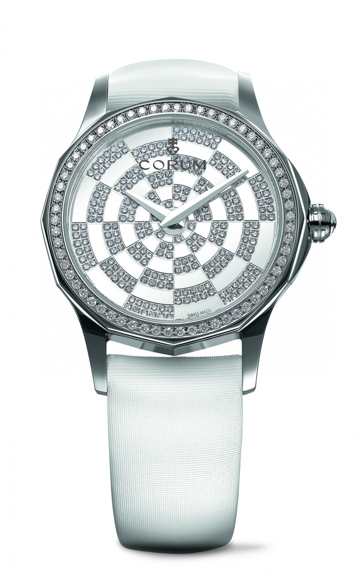 4d6835cd8309 The Corum Admiral s Cup Legend Lady in stainless steel with mother-of-pearl  and diamonds
