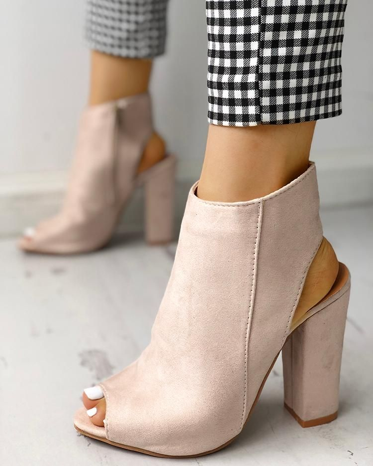 Trendy peep toe stylish chunky high heels for the stylish