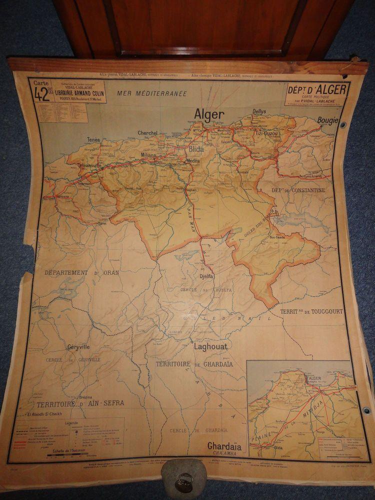 Carte Scolaire Departement Alger Algerie Vidal Lablache N 42 Rare Loft Indus Vintage World Maps Map World Map