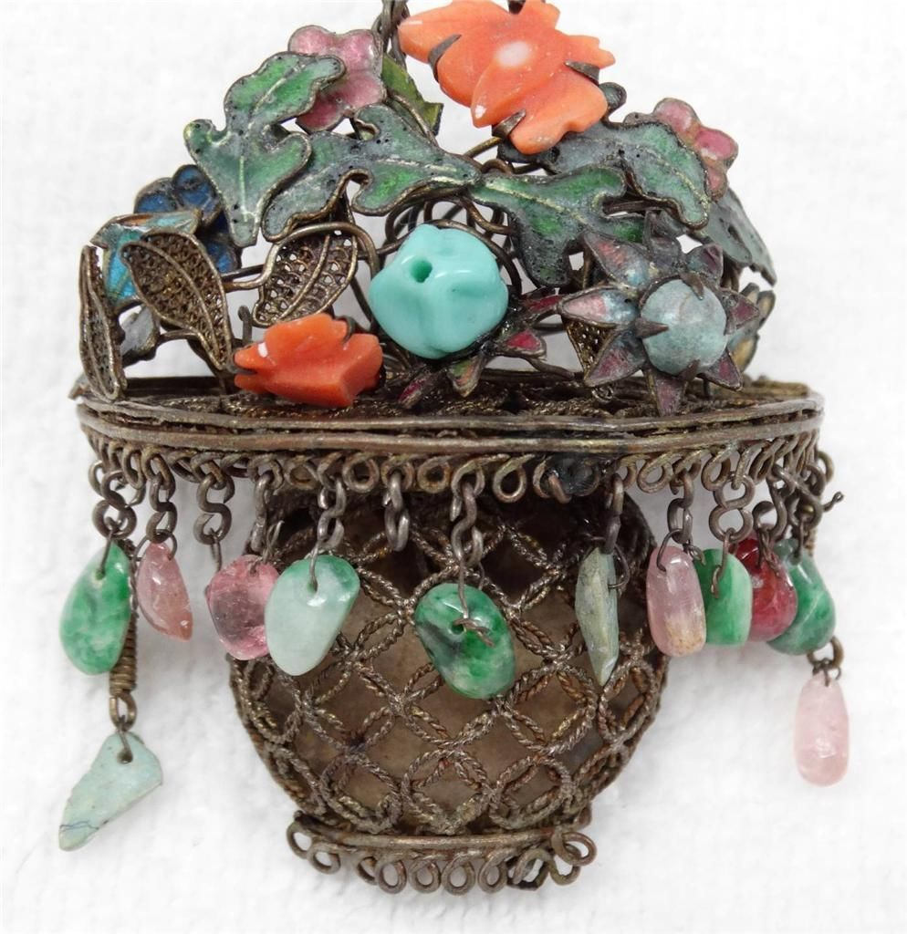dba9d89f3c6c Elaborate Antique Chinese Silver Jade Coral Enamel Flower Basket Brooch  Pendant