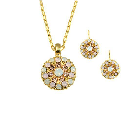 """Mariana """"Tiara Day"""" Collection 24k Gold Plated Guardian Angel Pendant Necklace with Swarovski Crystals and Matching Earrings Set, http://www.amazon.com/dp/B00NMNSEV4/ref=cm_sw_r_pi_awdm_GX1zub03GW89Q"""