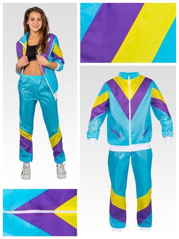 80er 90er Trainingsanzug Kostum Turkis Gelb Lila 80er Jahre