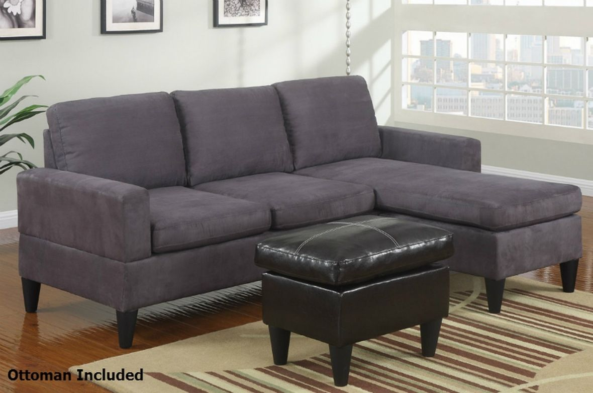 279 Poundex Piccio F7285 Grey Fabric Sectional Sofa And Ottoman Steal A Sofa Furniture Outlet L Grey Sectional Sofa Microfiber Sectional Sofa Sectional Sofa