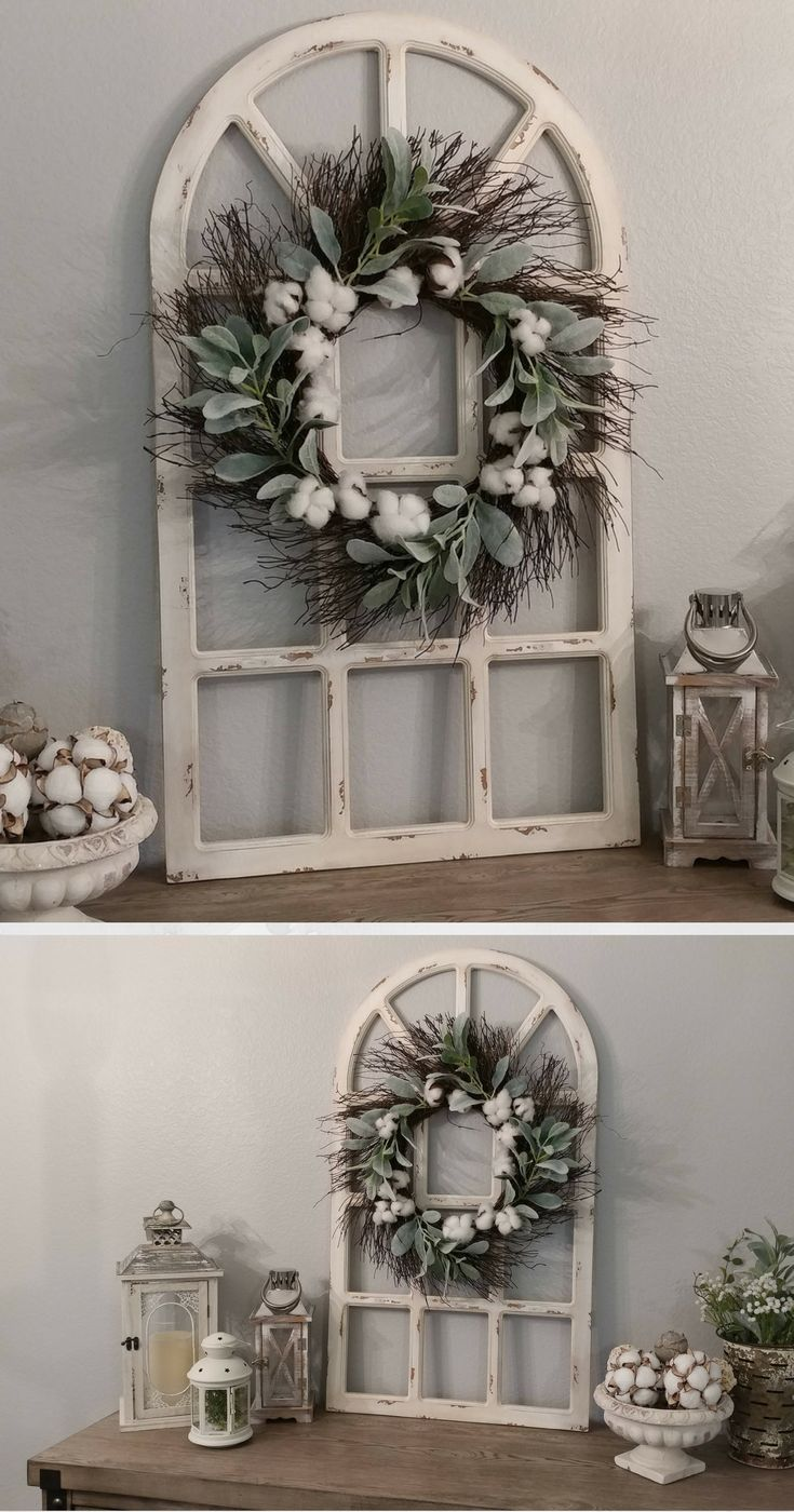 Farmhouse Wall Decor Distressed Window Pane Grapevine