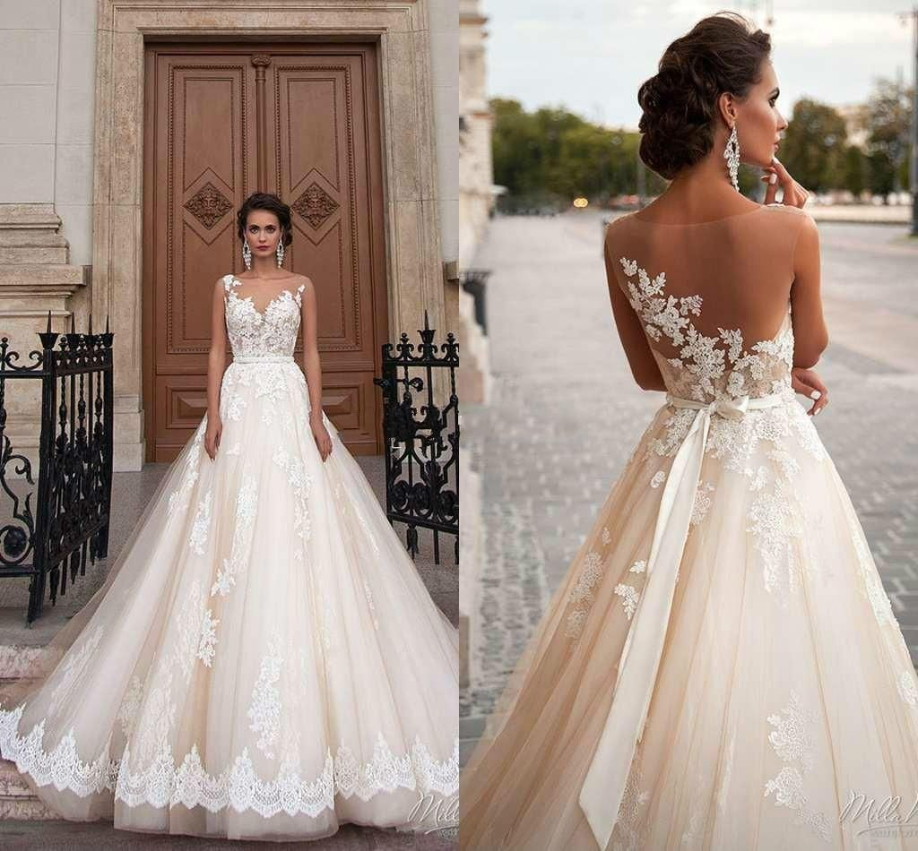 Stunning milla nova sheer castle wedding dresses ball illusion