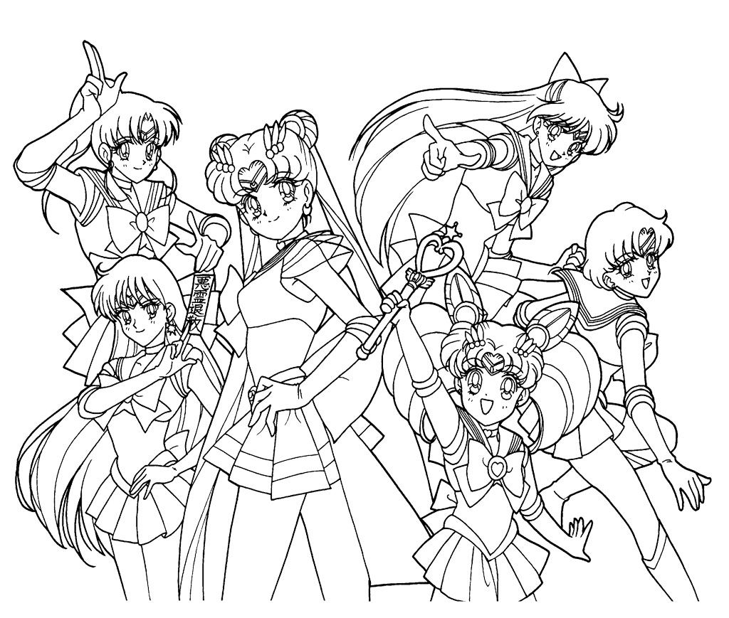 sailor moon and her friend familiar coloring page for kids