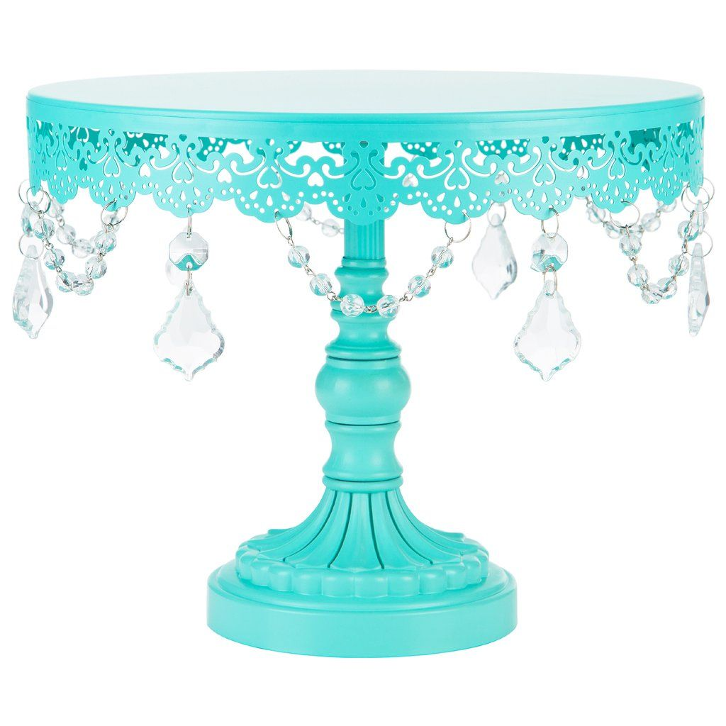 inch crystaldraped round metal cake stand teal in shop