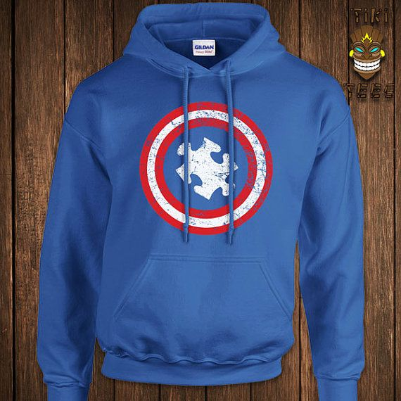 Funny Autism Awareness Hoodie Autistic Hooded Sweatshirt Captain Autism Sweater All hoodies are printed on 80% Ring Spun Cotton/ 20% Polyester