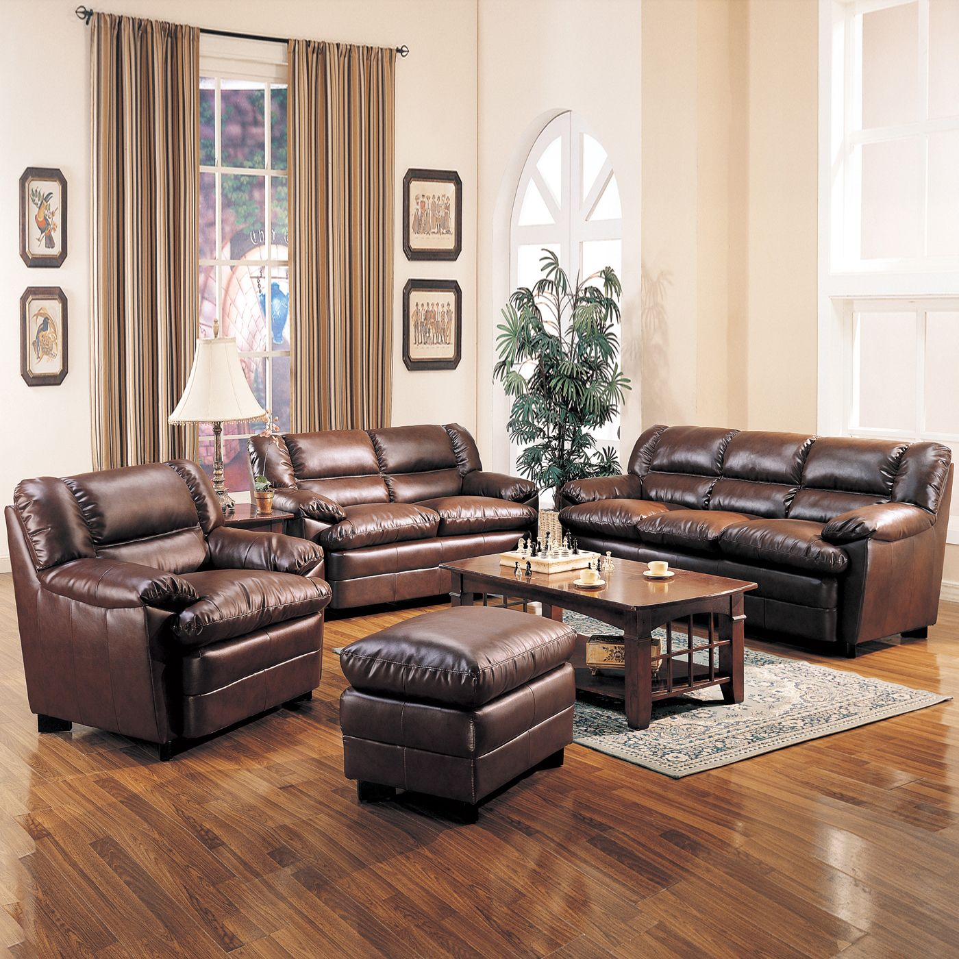 Nice Cream Living Room Sets: Vintage Living Room Set Up With Dark Brown Leather  Sofa And