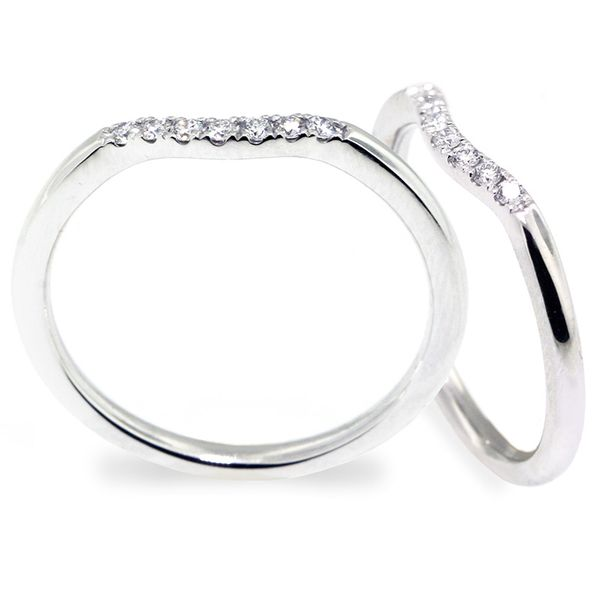 18K White Gold Curved Style Diamond Wedding Band in 2020
