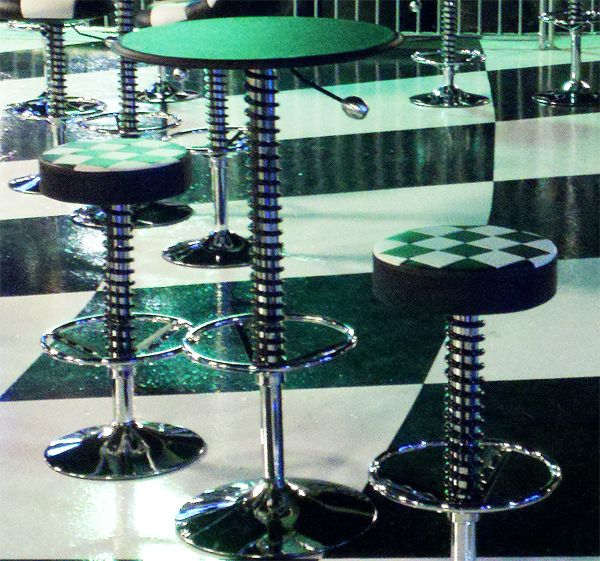 Two Checkered Shop Stools And One High Top Table Shop Stool High Top Tables High Dining Table