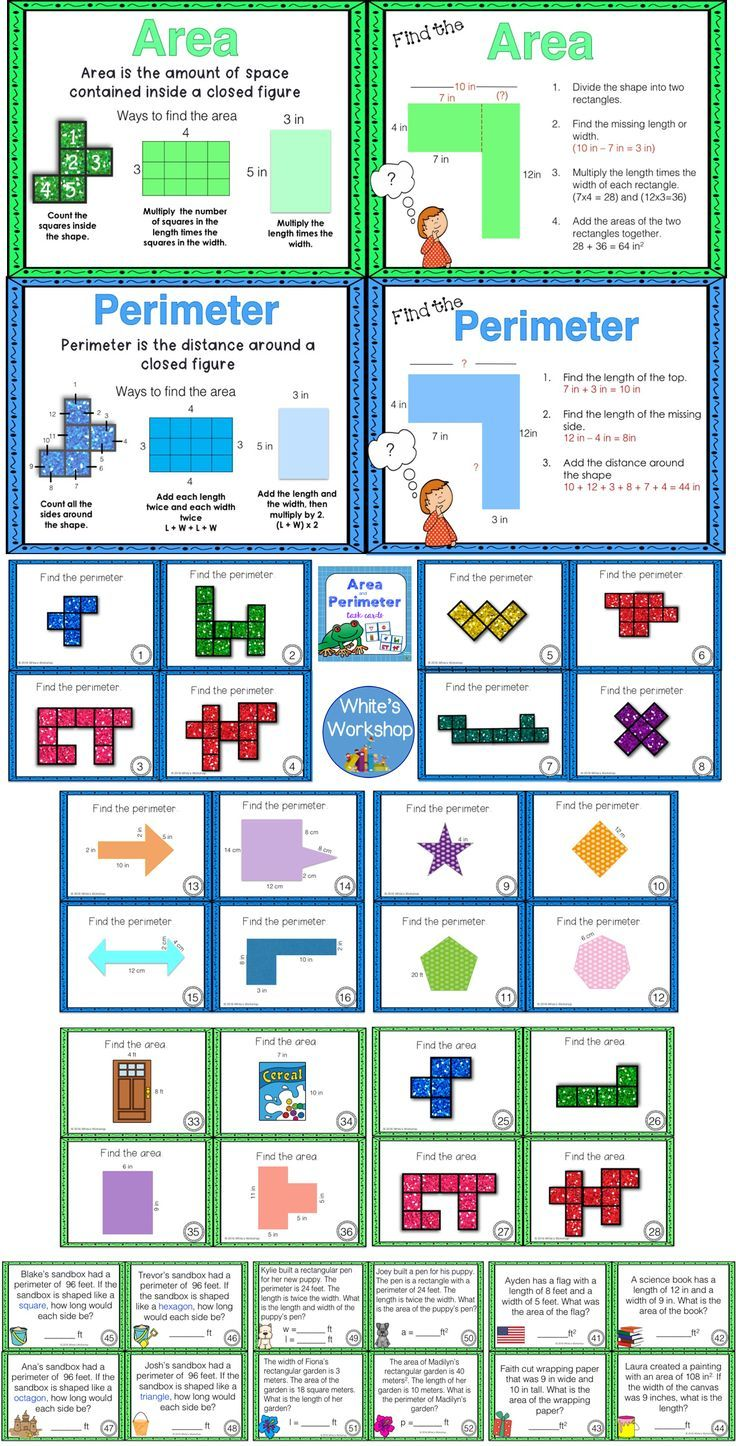 Area and Perimeter Task Cards | Anchor charts, Chart and Math