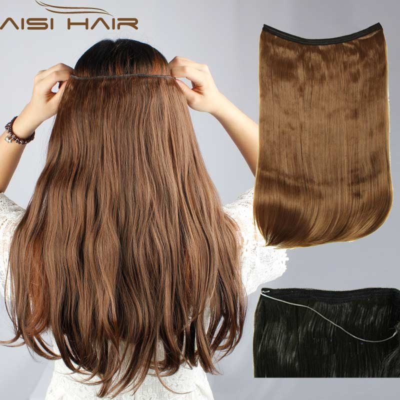 Hairpiece 22 55cm Flip In Invisible Hair Extension Fish Line Halo