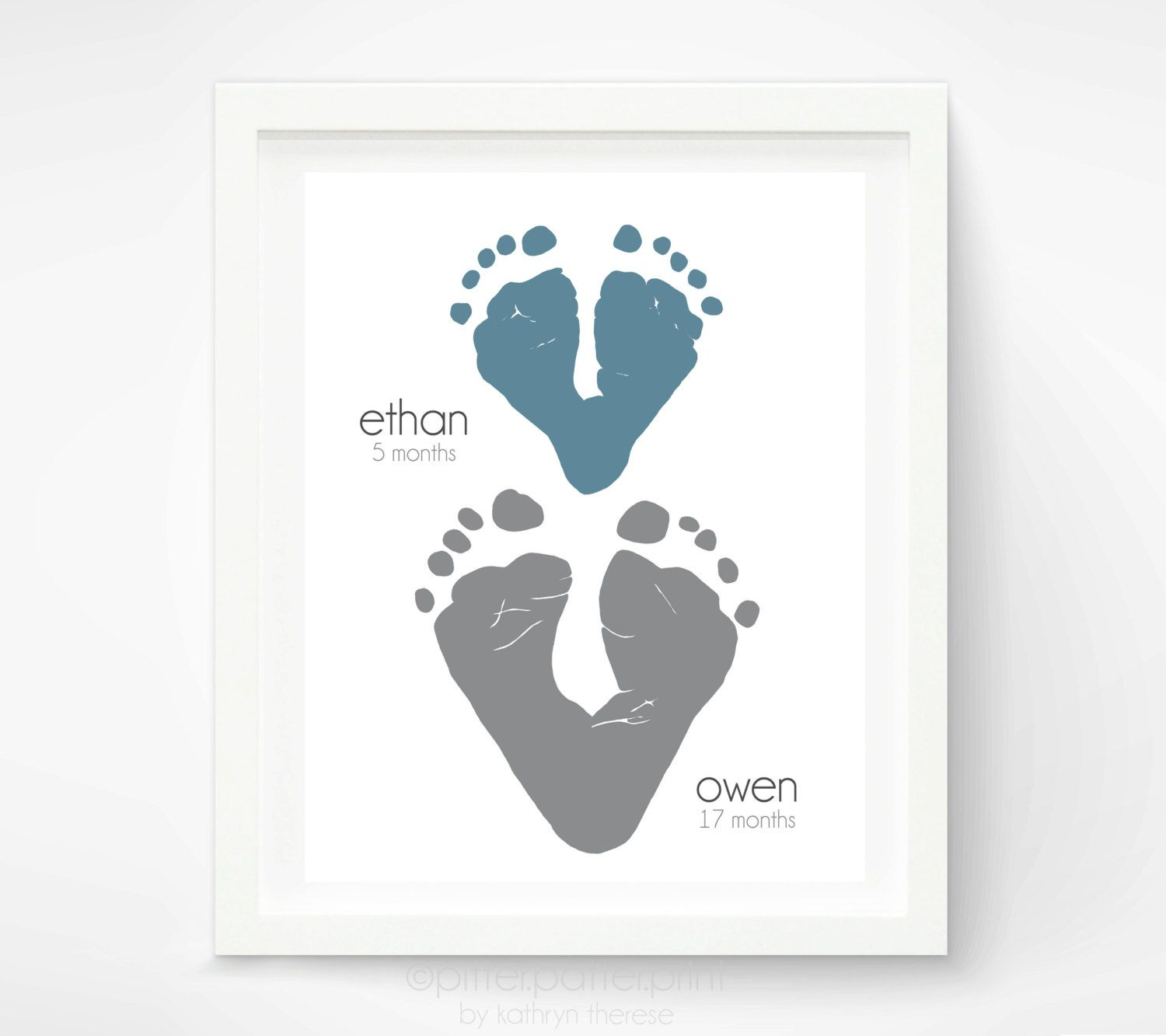 Gift For Grandparents  Footprint Hearts  Personalized Gift For