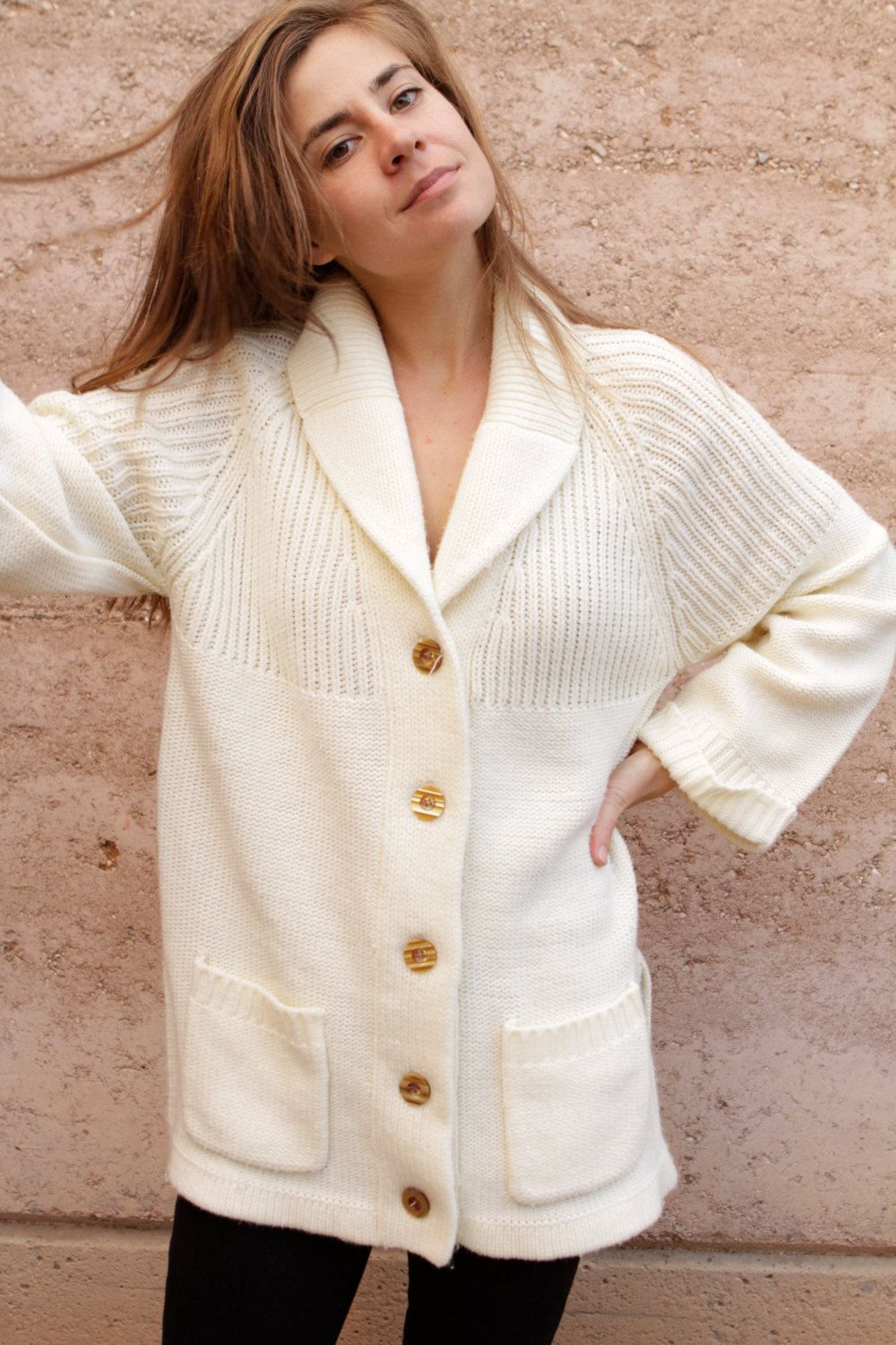 CARDIGAN sweater CREAM long THICK knit cable warm vintage 70s 80s ...
