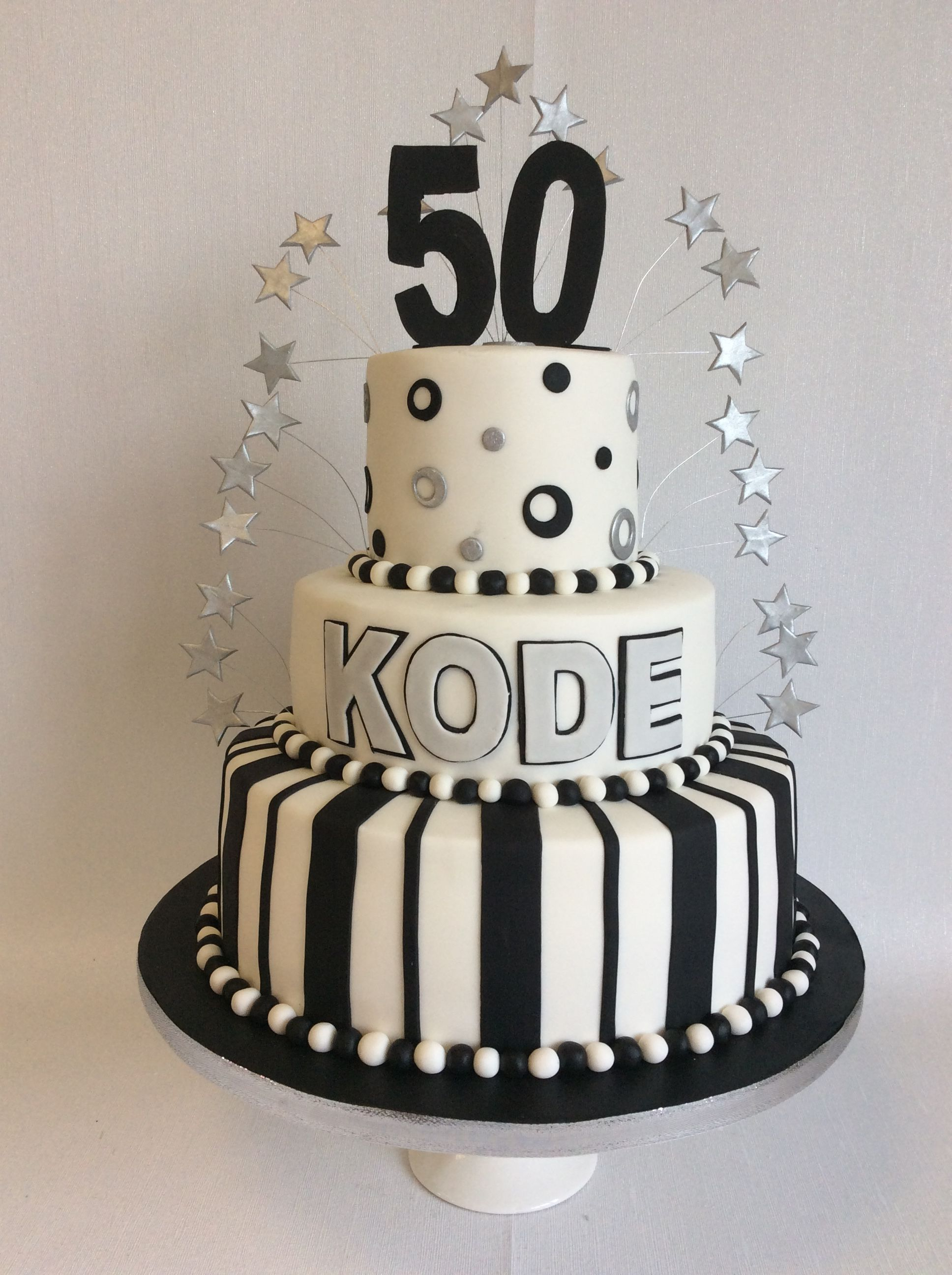 3 Tier Black Silver Theme 50th Birthday Cake