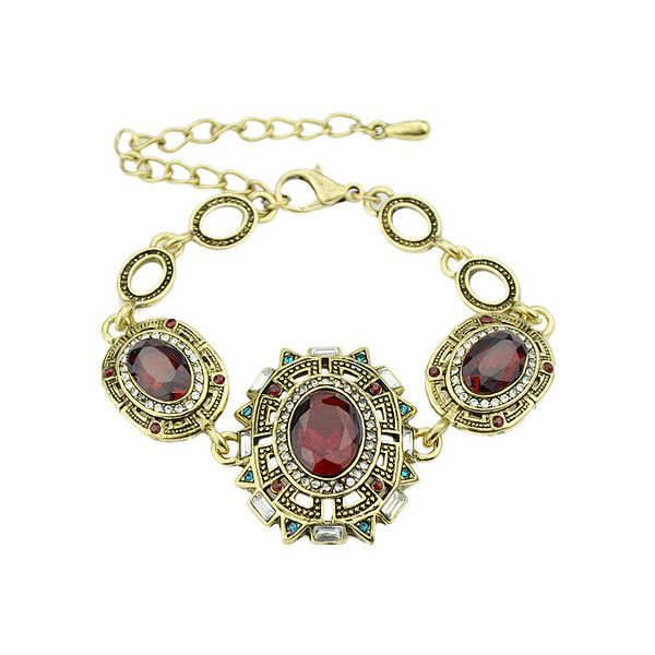 Red Gemstone Gold Link Bracelet ($4.99) ❤ liked on Polyvore featuring jewelry, bracelets, gem jewelry, red gold jewelry, gold jewellery, red bangles and yellow gold bangle