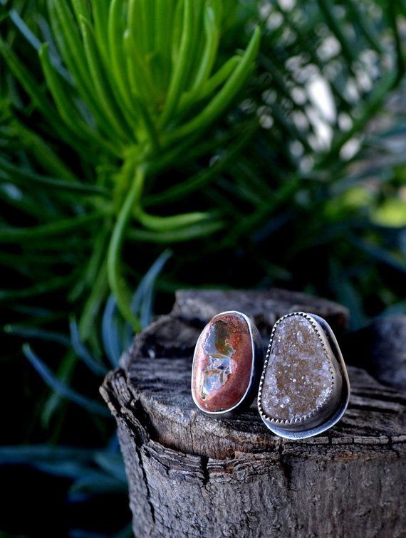 Adjustable ring. Mexican Fire Opal and Druzy agate. by Arrok