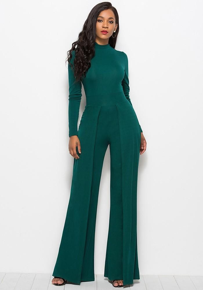 72e81bf3ab Dark Green High Neck Long Sleeves Flutter Pants Wide Leg Jumpsuit