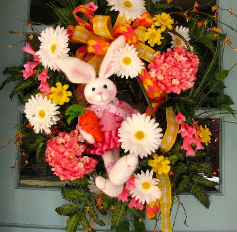XL Easter Bunny wreath by FloralArtAndDesign on Etsy, $119.00