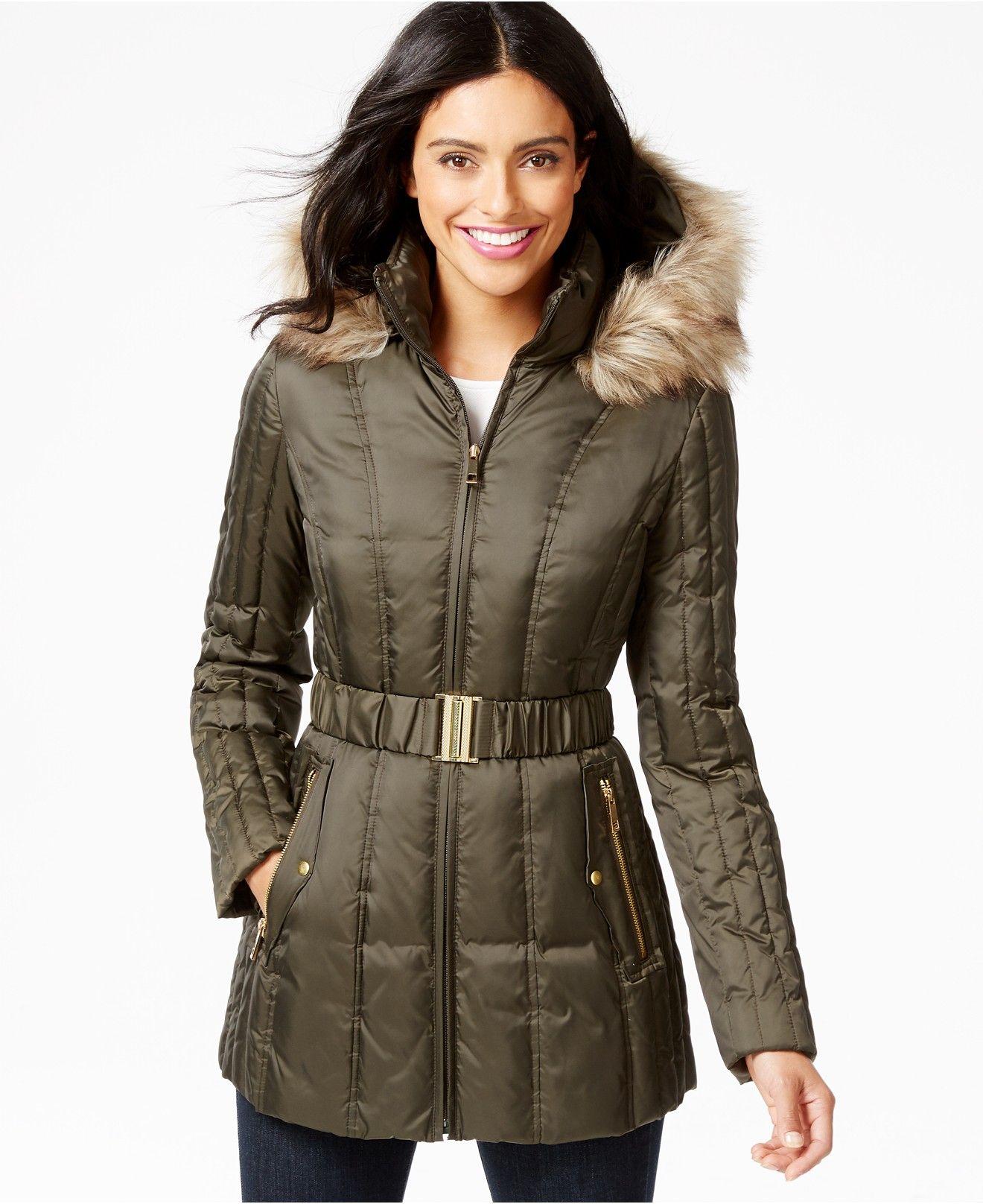 Inc International Concepts Faux Fur Trim Belted Puffer