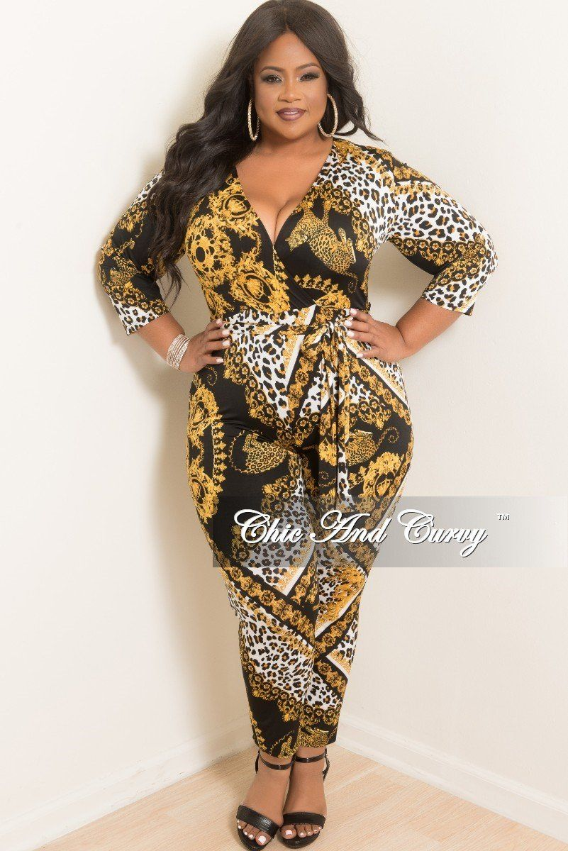 6023e87b03c5 Plus Size Faux Wrap Jumpsuit with Attached Tie in Black Gold and White –  Chic And Curvy