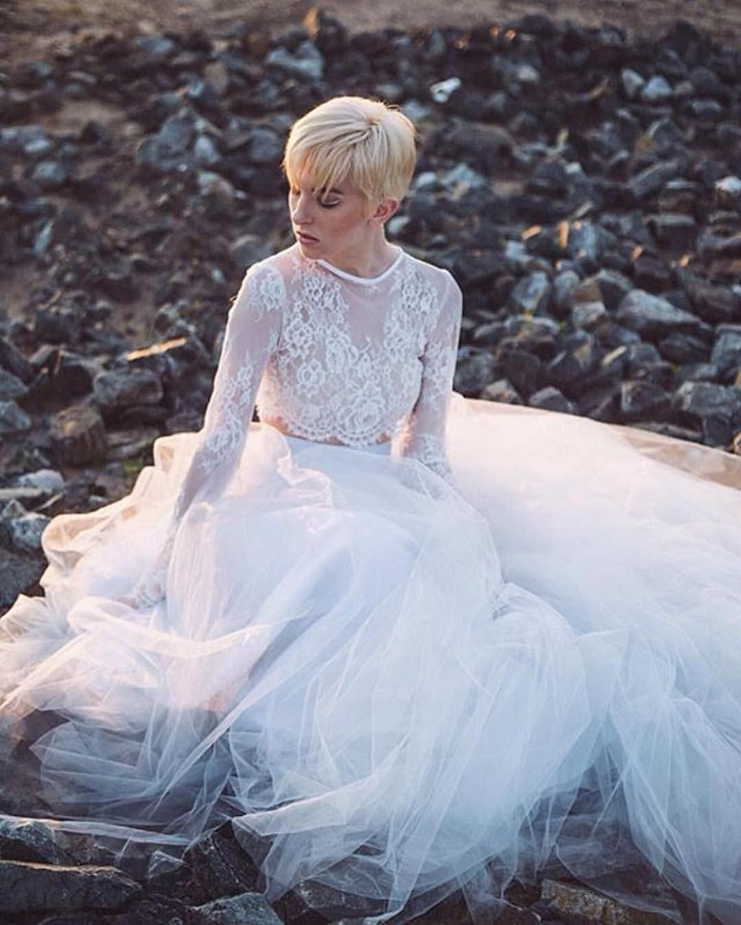 Love her short hair and that overall bridal look bridal u dresses