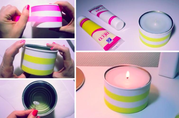 comment fabriquer ses bougies avec des boites de conserve astuce r cup id es cole tin. Black Bedroom Furniture Sets. Home Design Ideas