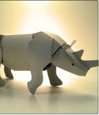 White Rhinoceros by duartepaperart: Punch out and assemble. $4.95 #Paper_Animals #duartepaperart #Rhinoceros #Toy