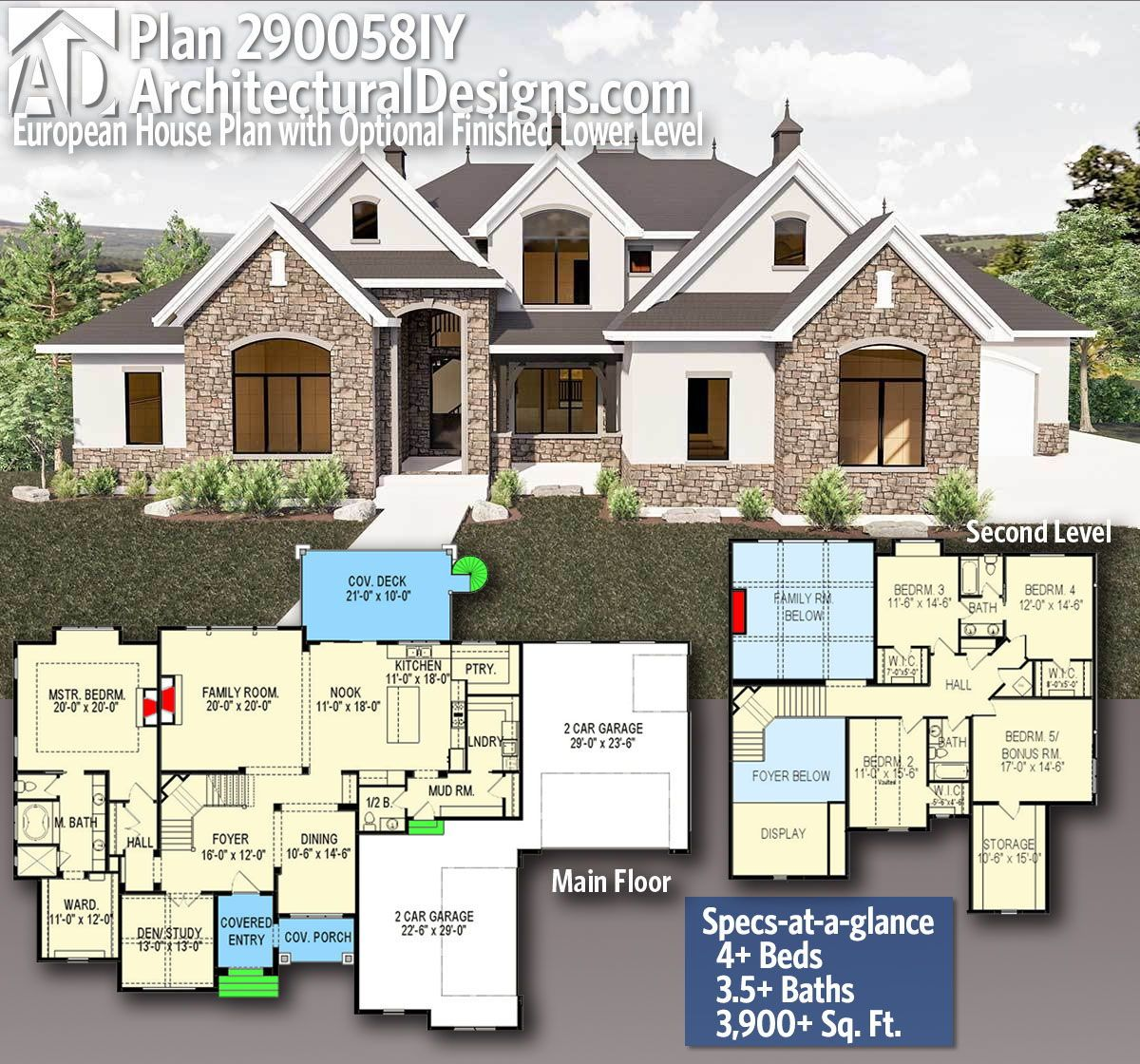 Plan 290058iy European House Plan With Optional Finished Lower Level In 2020 Sims House Plans Architectural Design House Plans House Blueprints