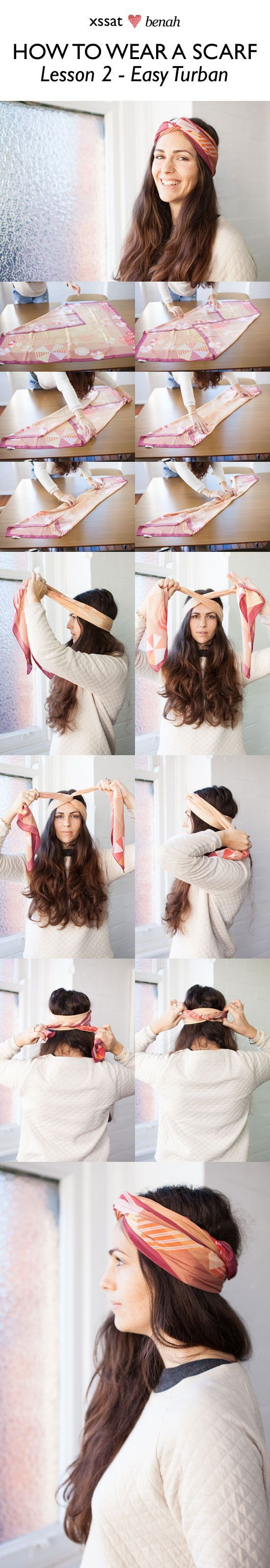 How to wear a scarf! Great tutorial on how to turn a scarf into a turban. Visit ... -