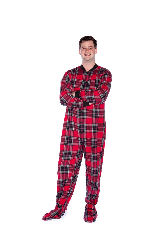 cd2cee9f8 Big Feet Pjs red and black plaid (tartan) unisex pajamas are a true ...