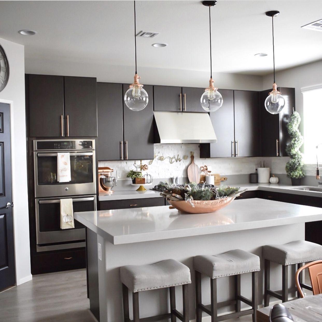 Copper Kitchen With Modern Dark Cabinets Modern Kitchen Interiors Modern Kitchen Design Contemporary Modern Kitchen