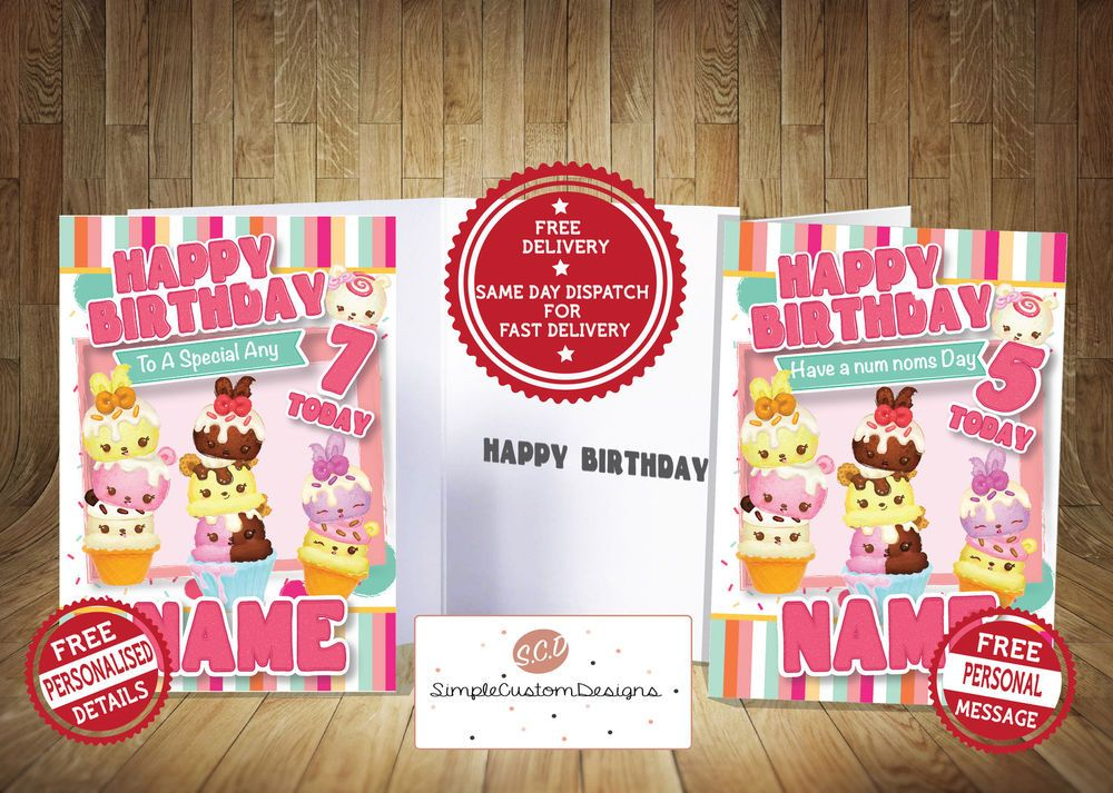 Num Noms Personalised Birthday Card Free Postage Personalized