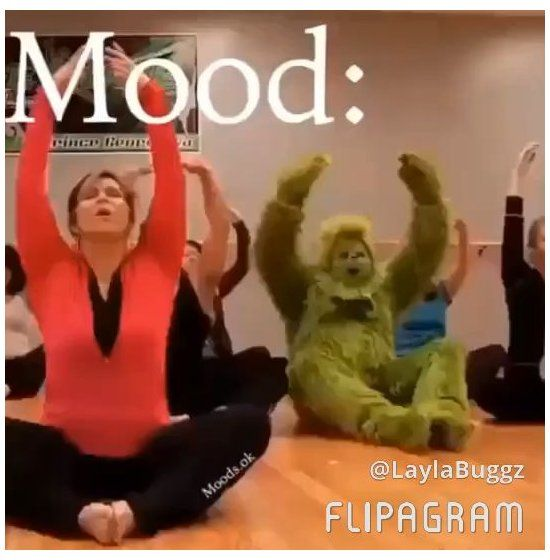 grinch doing yoga video