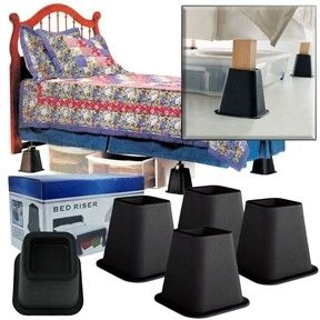Black 6 Inch High Bed Risers 4 Pack