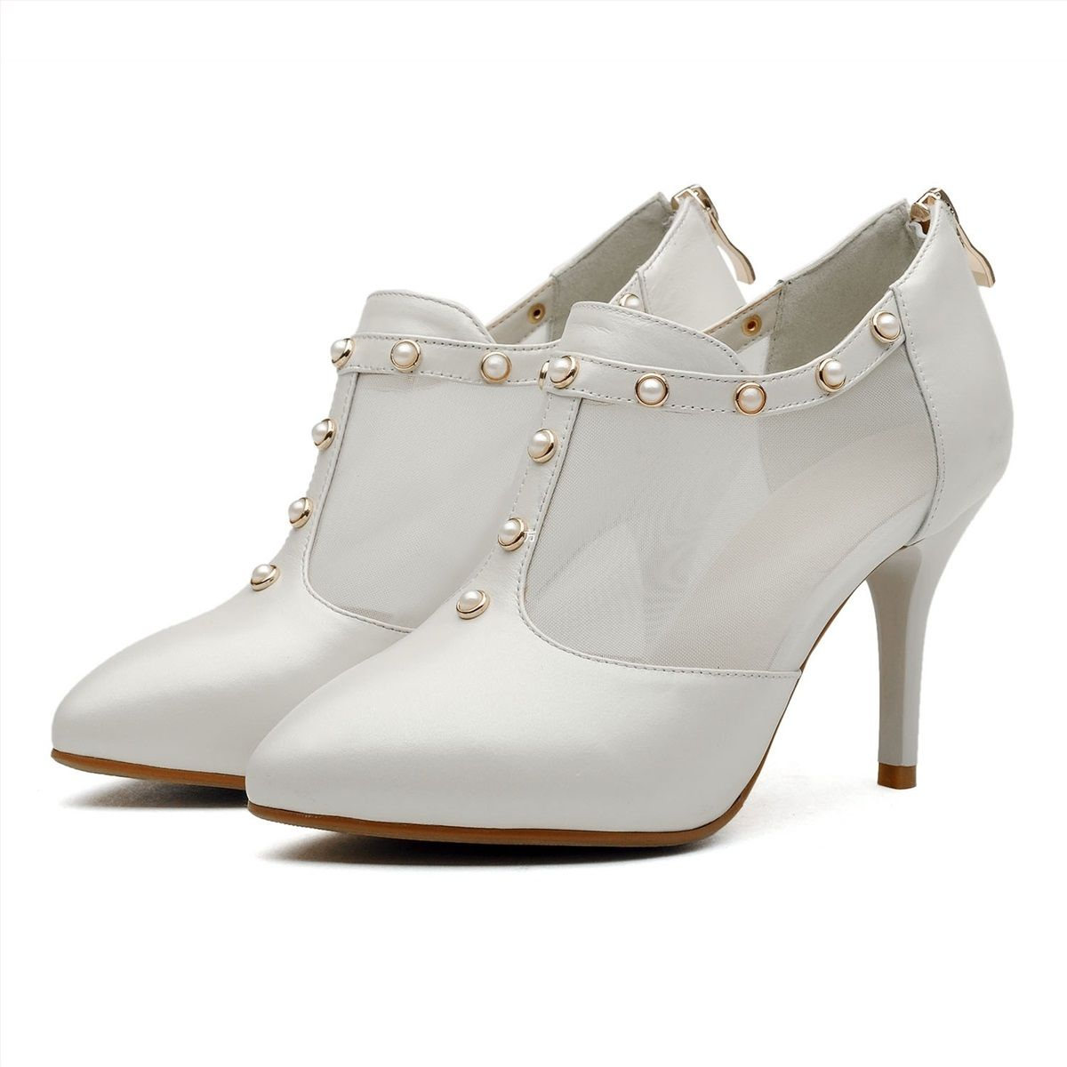 White blue ballet retro ankle heel booties jeweled non slip shoes