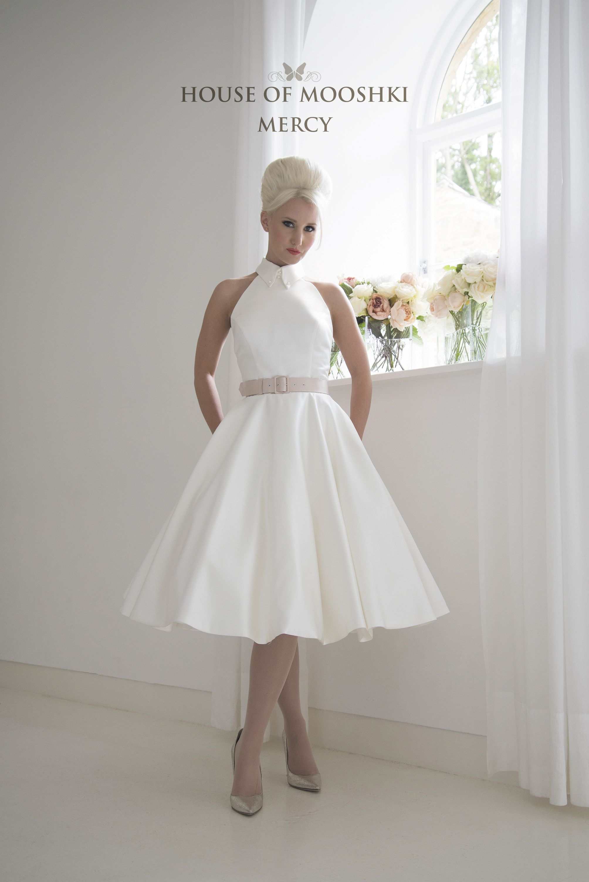 Contemporary Short Wedding Dress With Vintage Styling Tea Length