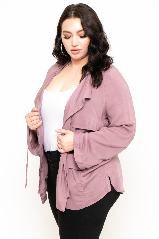 Plus Size Light Weight Utility Jacket Purple Curvy