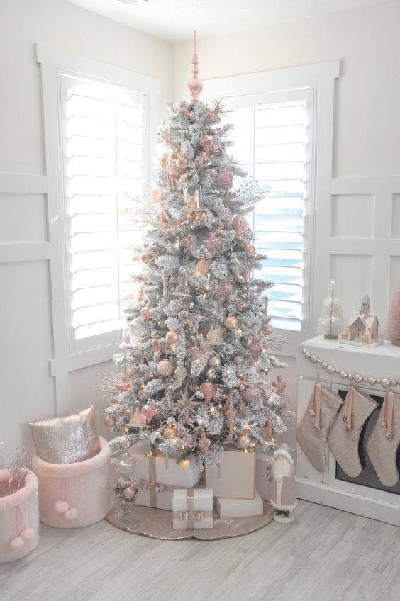 White And Blush Christmas Tree Pink