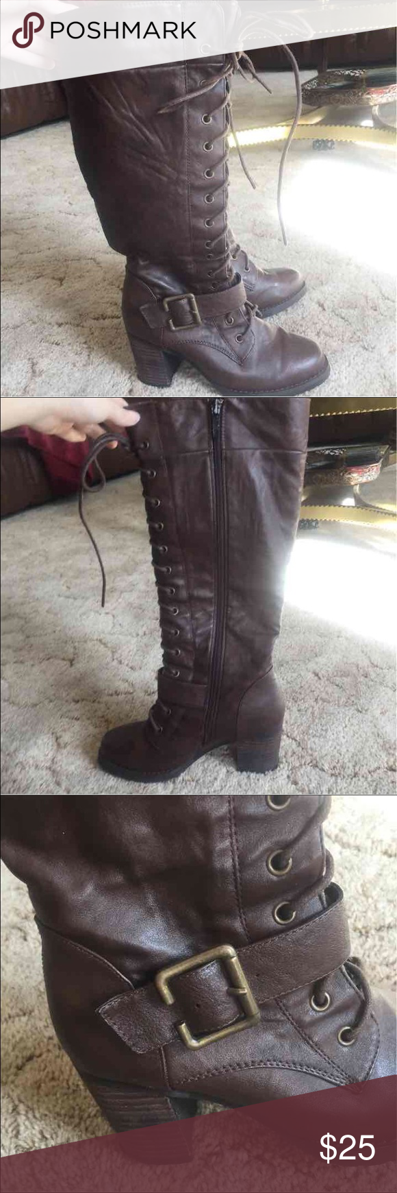 Tall Heeled Lace Up Leather Boots Tall heeled lace up leather brown boots with side zip closure and buckle detail. Wanted brand size 6. Gently used. Wanted Shoes Lace Up Boots