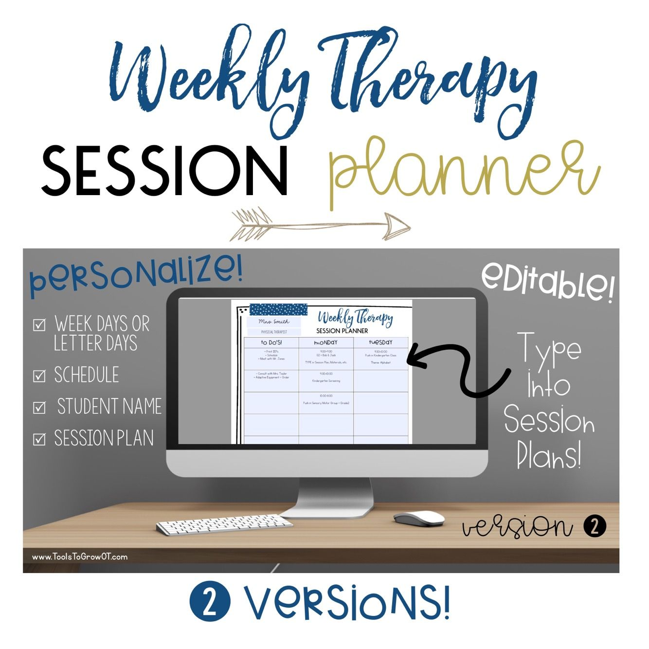 Organize and Plan your Weekly Sessions! NEW! Weekly Therapy Session ...