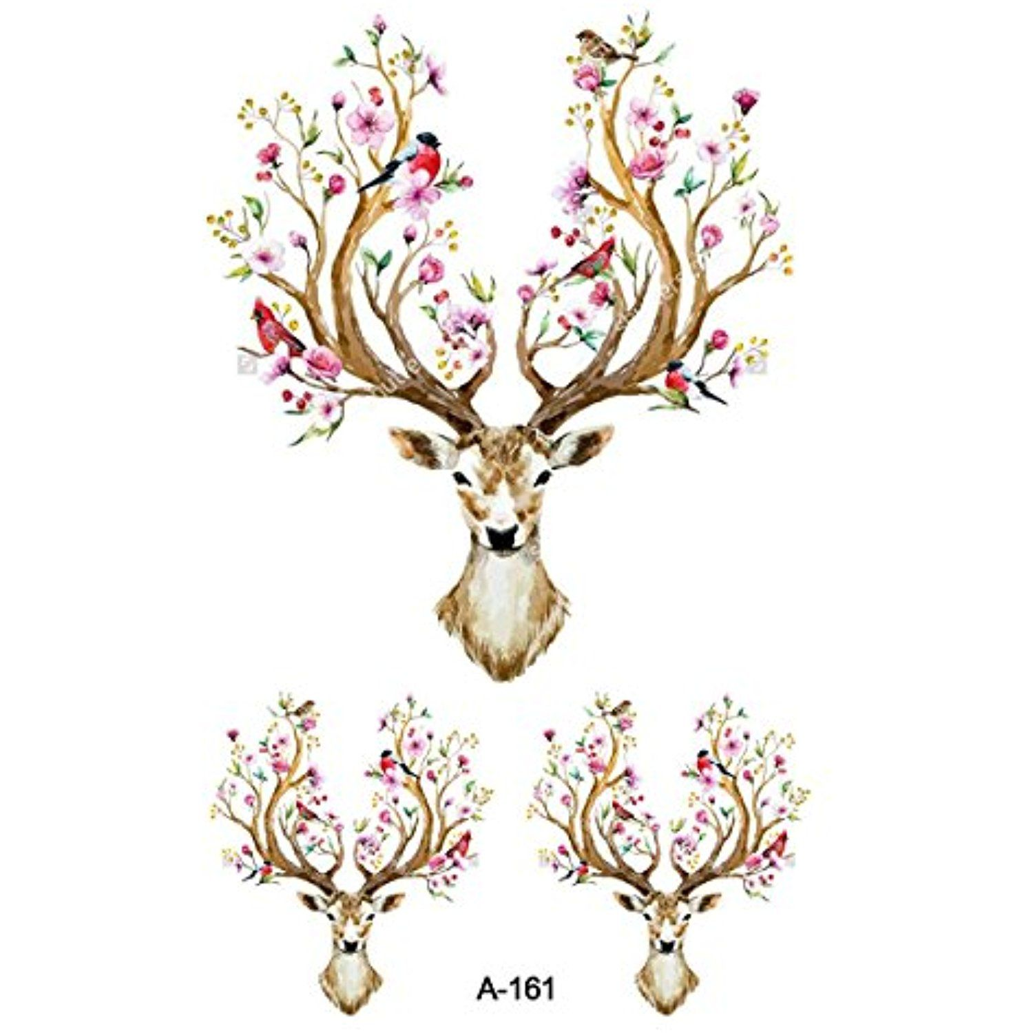 ffffe3b741f94 WYUEN 5 Sheets Watercolor Deer Temporary Tattoo Sticker for Men Fake Flower  Tattoo New Design Animal Body Art 9.8X6cm FA-161 *** Check out this great  ...