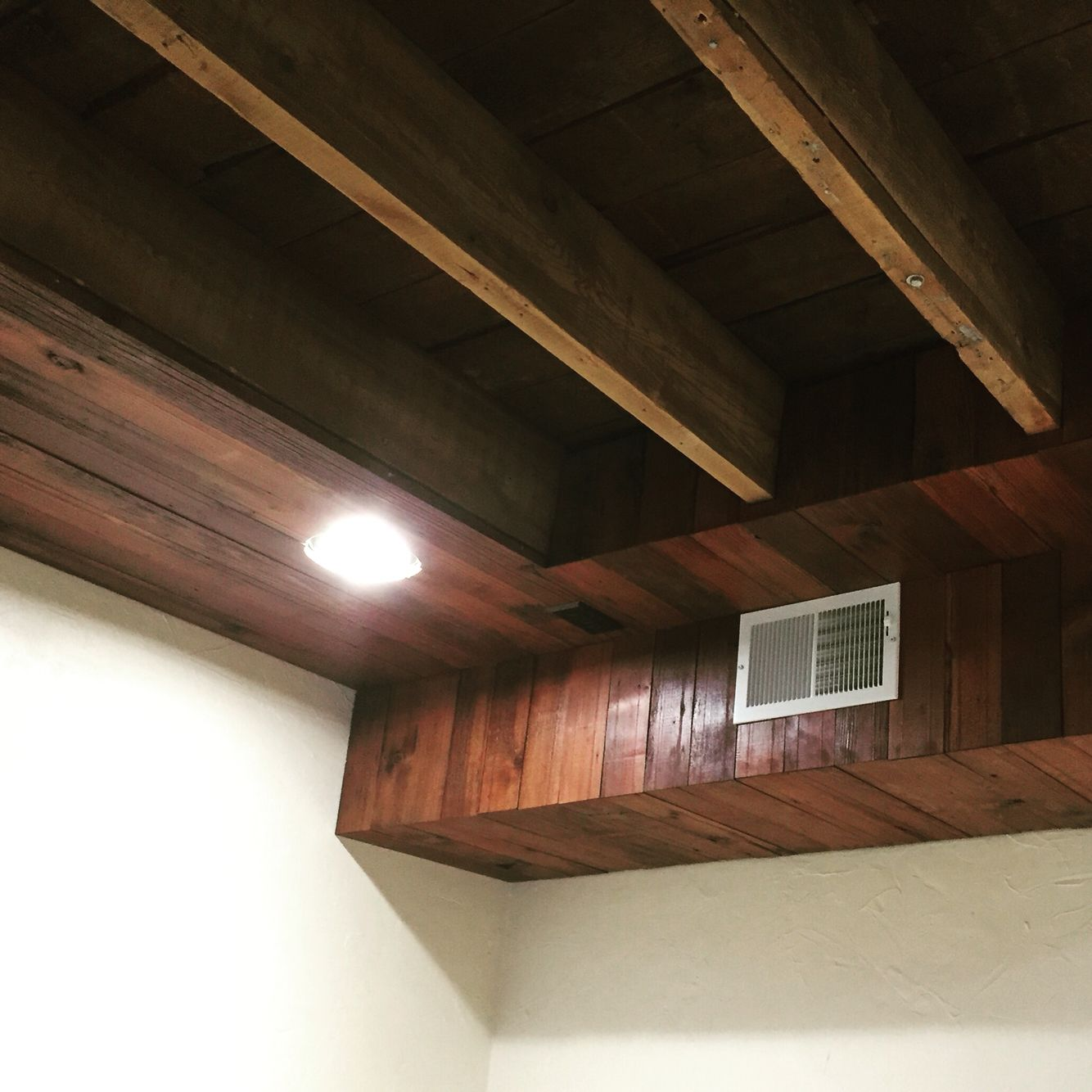 Hide duct work and ceiling wires in basement with ...