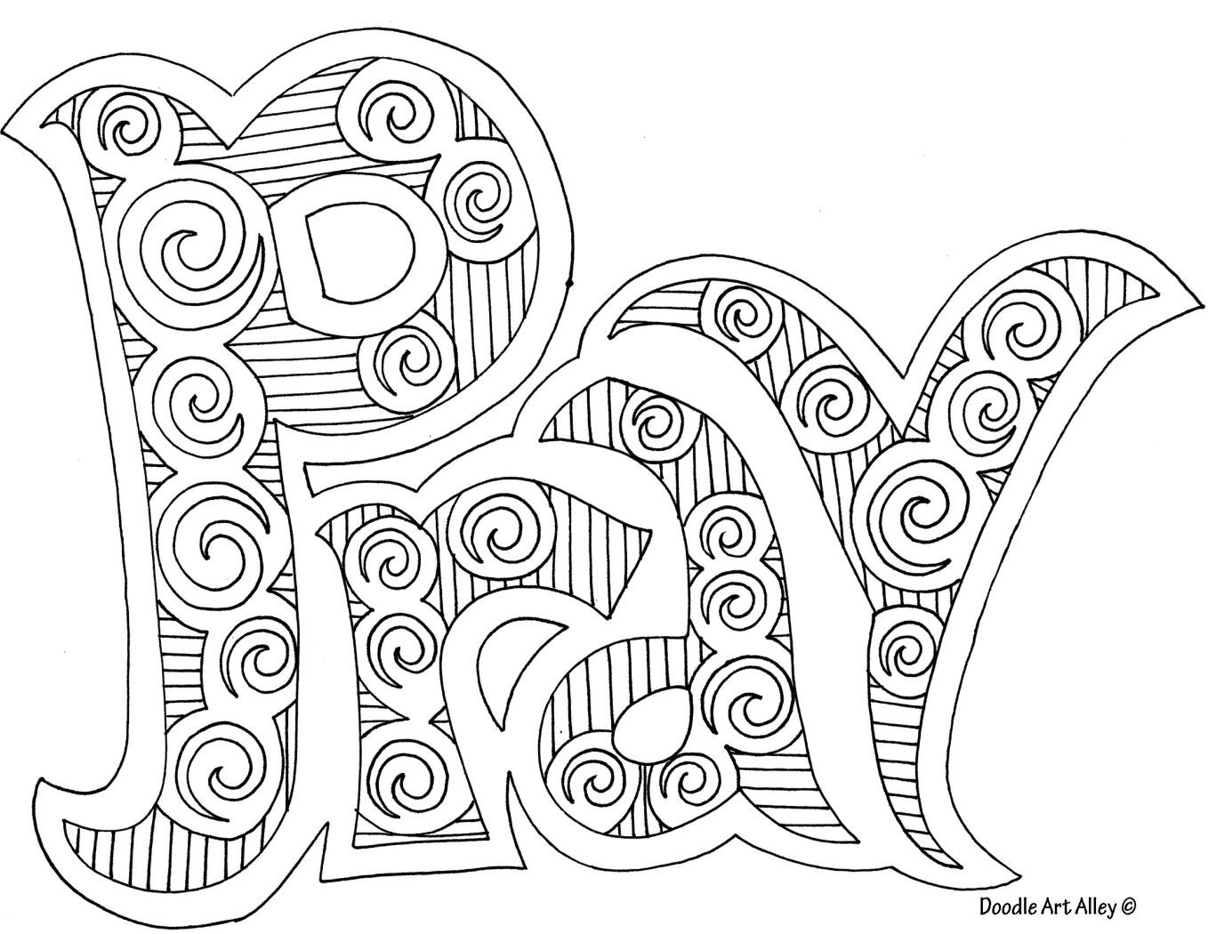 Doodle art pray - nice coloring page for older kids | Sunday school ...